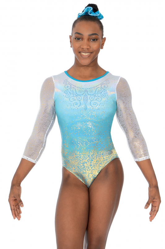 Aura 3 4 Length Sleeve Gymnastics Leotard e86fd36360c